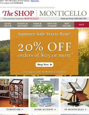 Summer Sale!  20% OFF Your Purchase