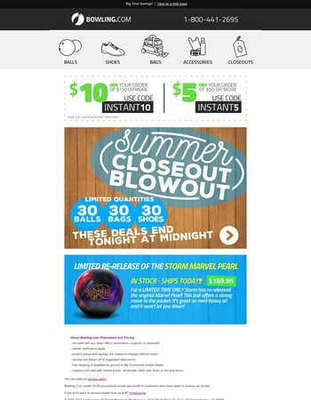 Closeout Blowout Ends Tonight + Marvel Pearl In Stock!