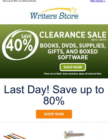 Clearance Sale Ends Today!