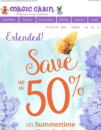 Extended! Up to 50% Off for In-Season Savings