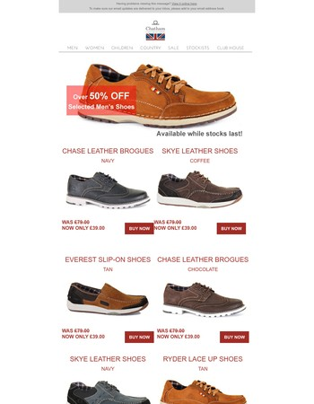Over 50% Off Selected Men's Shoes - Available While Stocks Last