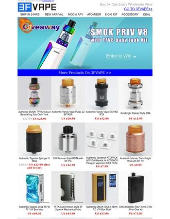 Giveaway! SMOK Priv V8 with TFV8 Baby Tank Kit