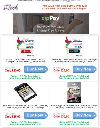 PNY 32GB High Speed SDHC Only $25! AData 64GB USB3.0 Flash $29 Shipped!