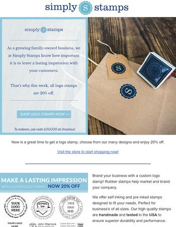 Michaela Brand your company with 20% off all Logo Stamps!