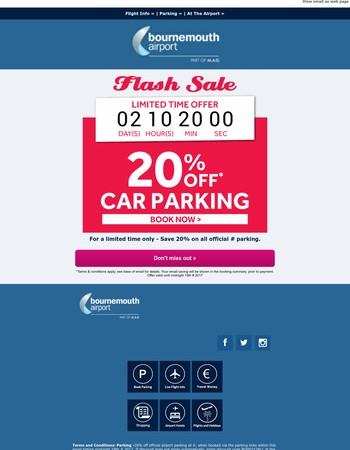 Limited Time Only - 20% off official Bournemouth Airport Parking