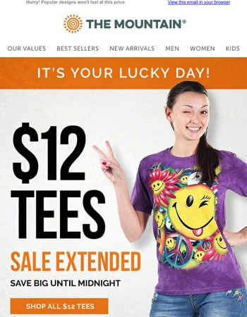 $12 Tees Sale Extended for One More Day