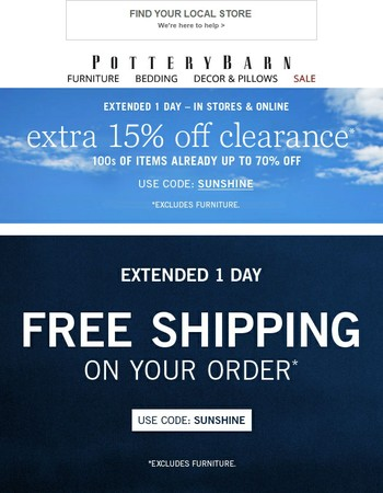 Extended! EXTRA 15% off clearance + Free Shipping