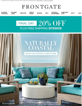 Final day: Save 20% sitewide + FREE shipping – including furniture