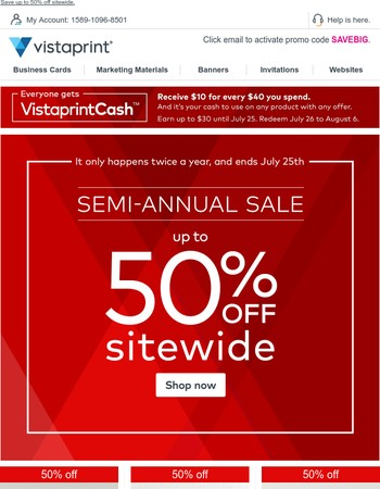 ③②① It's Semi-Annual time. Save up to 50% sitewide.