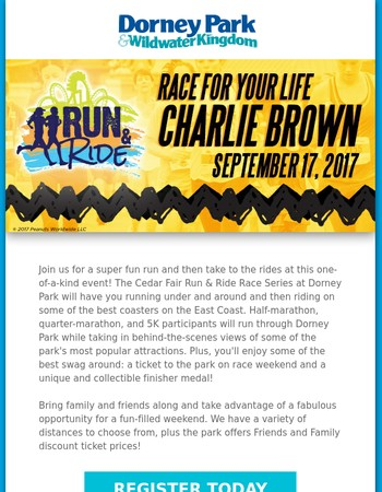 Race For Your Life Charlie Brown - Run & Ride September 17th!