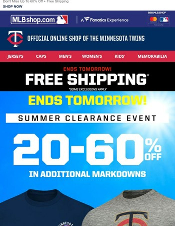 Twins Summer Clearance Event Ends Tomorrow!