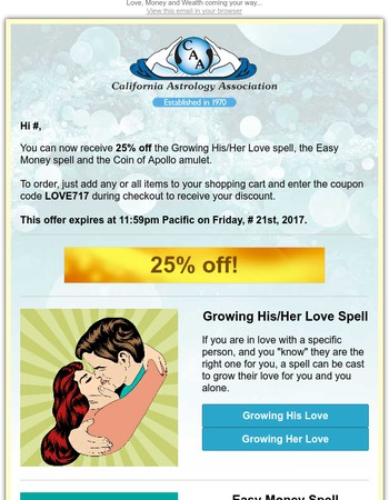 25% off Growing His/Her Love & Easy Money spells + Mystical amulet