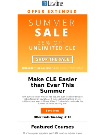 Offer Extended: $100 off Unlimited CLE