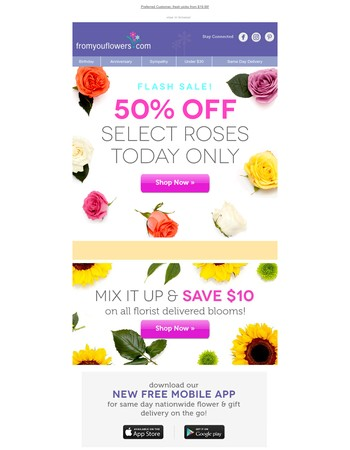 Rose Flash Sale! Up to 50% off Today Only