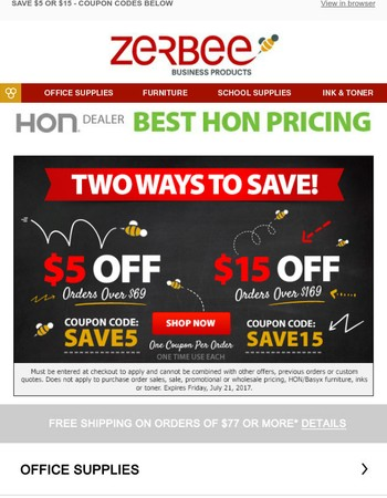 EMAIL EXCLUSIVE: Take $5 or $15 Off - Two Ways to Save!