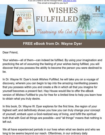 Get Your Free eBook: Wishes Fulfilled by Wayne Dyer
