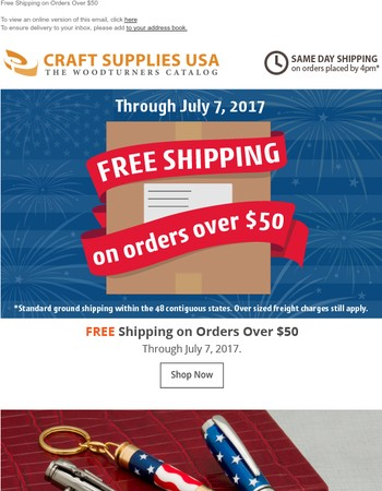 Final Week for Free Shipping!