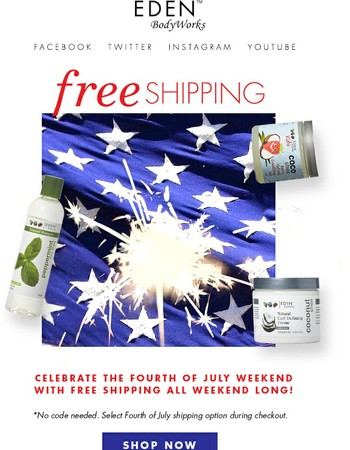 Red, White, and YOU... get FREE Shipping!