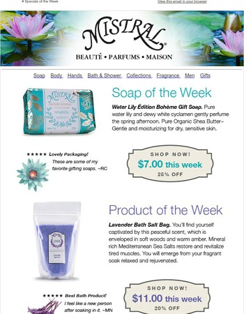 Specials of the Week: Edition Boheme Water Lily Soap & Lavender Bath Salts