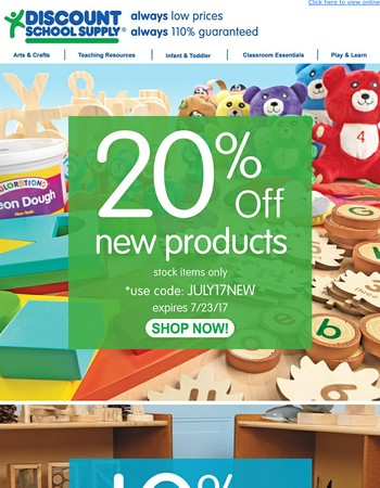 stock up on new items - take 20% off!