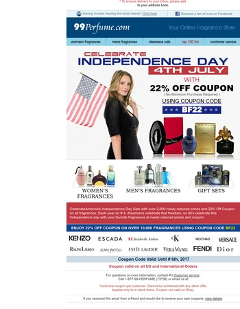 Independence Day Sale - 22% Off Coupon On All Fragrances