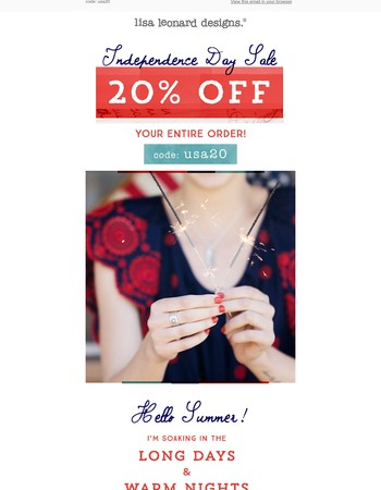20% off your entire order {ends tomorrow}!