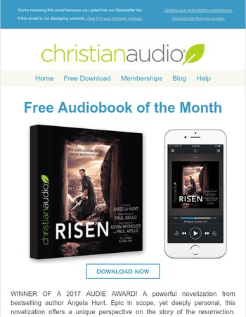 FREE Download For July - Risen (2017 Audie Award Winner)