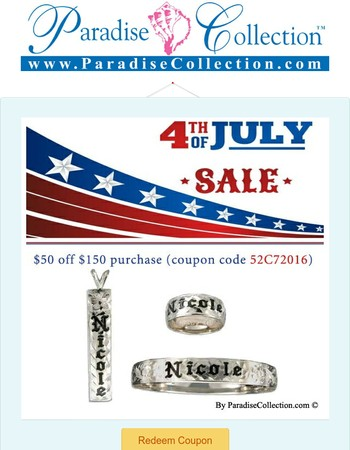 4th of July Sales! @ ParadiseCollection.com