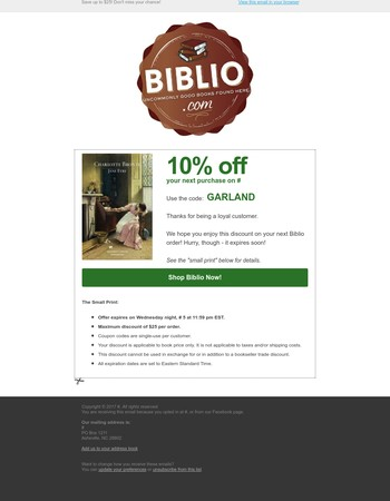 10% discount on your next book order expires soon!