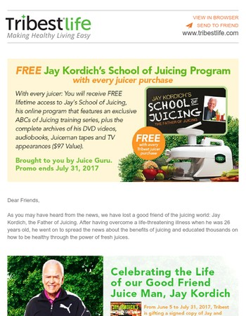 The Love Keeps Rolling In: As an Added Bonus, Receive the Jay Kordich School of Juicing Program for FREE, Brought to You by Juice Guru.