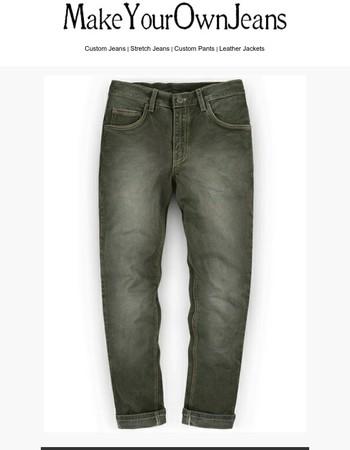 Chester Olive Stretch Jeans - Scrape Wash