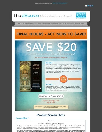 Last Day to Save! $20 Off e-Sword $20 Bestselling Commentary!