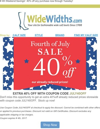 Last day to save!  Celebrate Independence Day with 40% off!