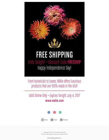Happy Independence Day! Free Shipping Ends Tonight!