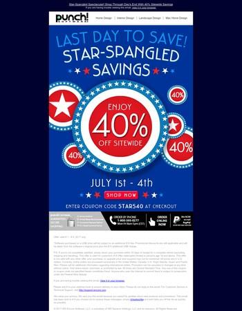 Stars, Stripes & SITEWIDE SAVINGS Stop Tonight