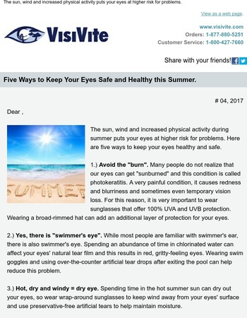 , five ways to keep your eyes safe and healthy this summer.