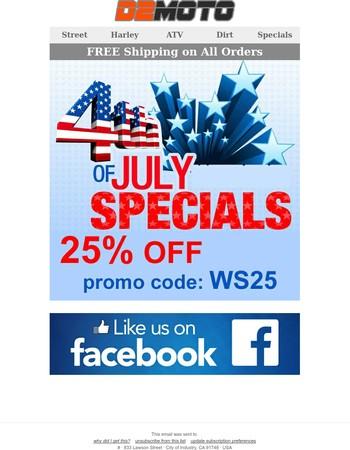 D2Moto - 25% OFF July 4th Sale
