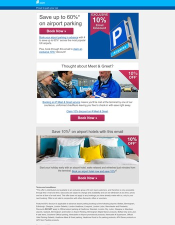Discounted Airport Parking: Pre-book and save up to 60% + an extra 10% off with this email