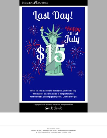 $15 SALE! Happy 4th of July! Last Day!
