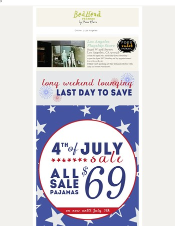 Happy 4th of July - Last Day for $69 PJs!
