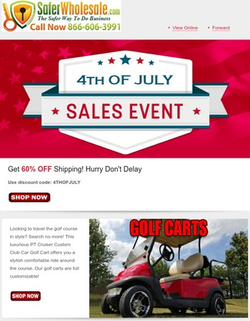 4th OF JULY BLOWOUT SALE RIGHT NOW! SAVE 60% ON SHIPPING!