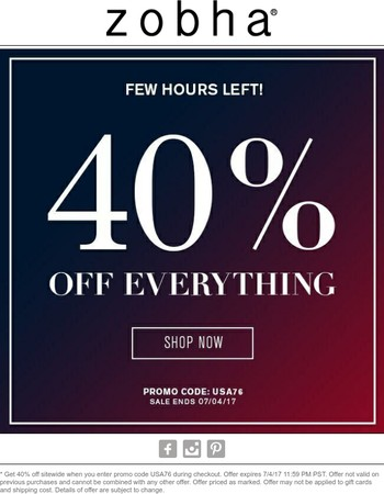 40% Off Everything Ends Tonight