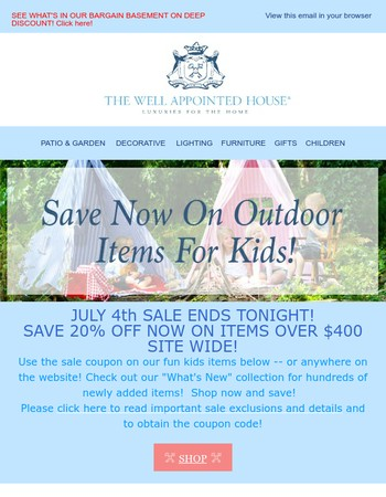 JULY 4th 20% OFF SITE WIDE SALE ENDS TONIGHT!
