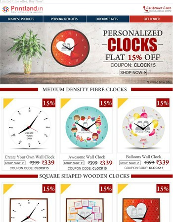"Flat 15% off on Personalized Clocks : ""A Perfect Timepiece Gift"""