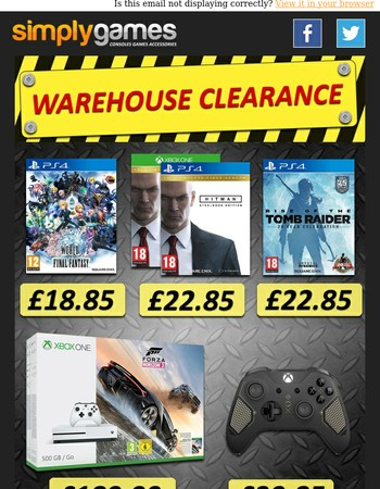 Warehouse Clearance at SimplyGames!!
