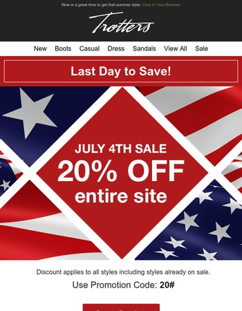 20% Off Entire Site Ends Today!