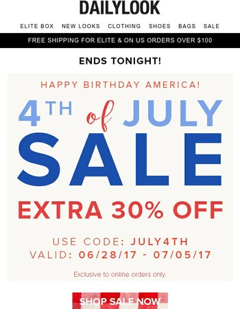 Ends TONIGHT! 30% OFF Sale Last Chance