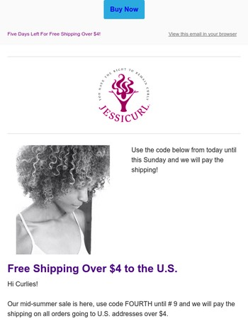 Five Days Left to Enjoy Free Shipping From Jessicurl...