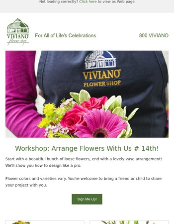 Workshop: Arrange Flowers With Us July 14th!