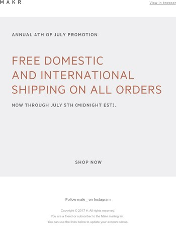 REMINDER - FREE International and Domestic Shipping - Until Midnight  (EST)